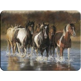 Rivers Edge 730 Horses in Water Tempered Glass Cutting Board