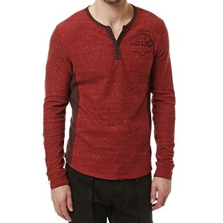Buffalo David Bitton NEW Chili Red Mens XL Colorblocked Henley T-Shirt