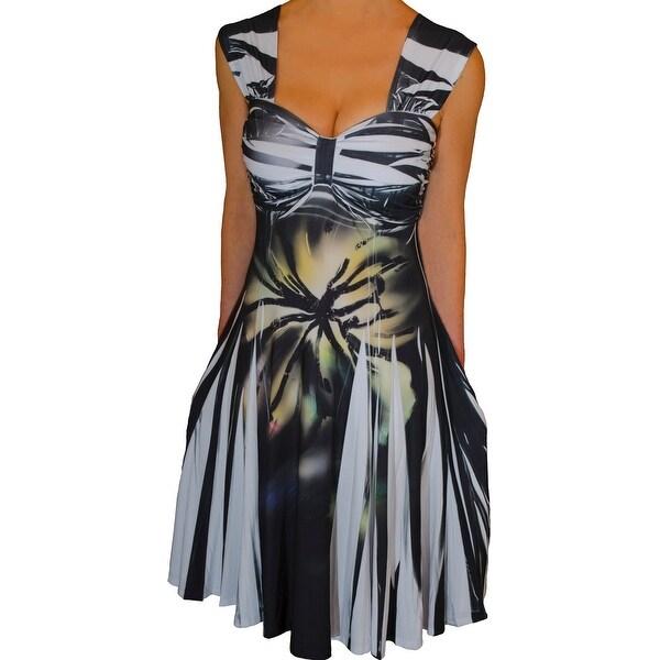 Funfash Plus Size Black White Women's Empire Waist Cocktail Dress