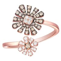 Prism Jewel 0.34Ct SI1 Brown Diamond & G-H/I1 Natural Diamond Cushion Shape Flower Ring