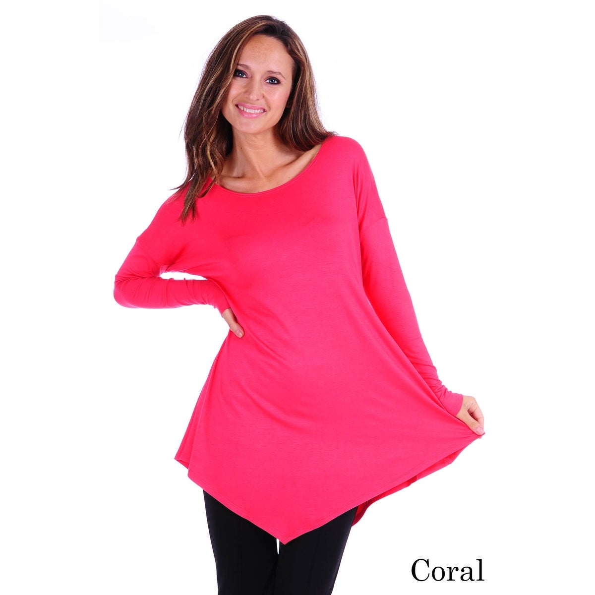 Simply Ravishing Women's Assymetrical Front/Back Handkerchief Hem Long Sleeve Tunic Top - Thumbnail 15