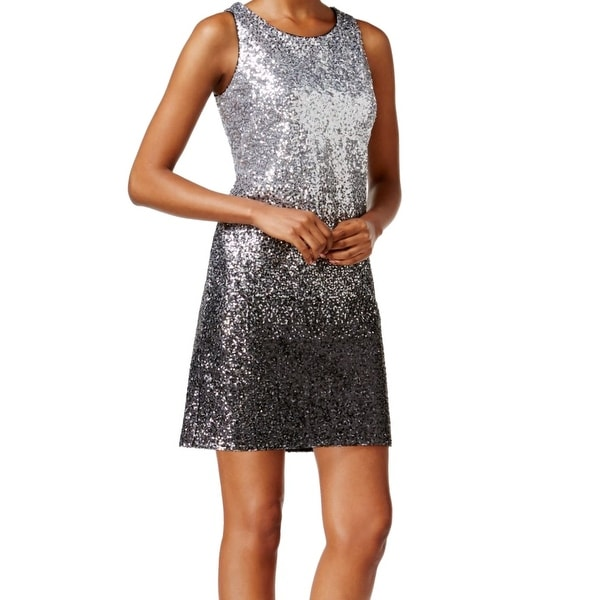 Shop Vince Camuto NEW Silver Ombre Metallic Sequin Women s 8 Sheath Dress - Free  Shipping Today - Overstock - 17782990 ddc6e6ef01f7