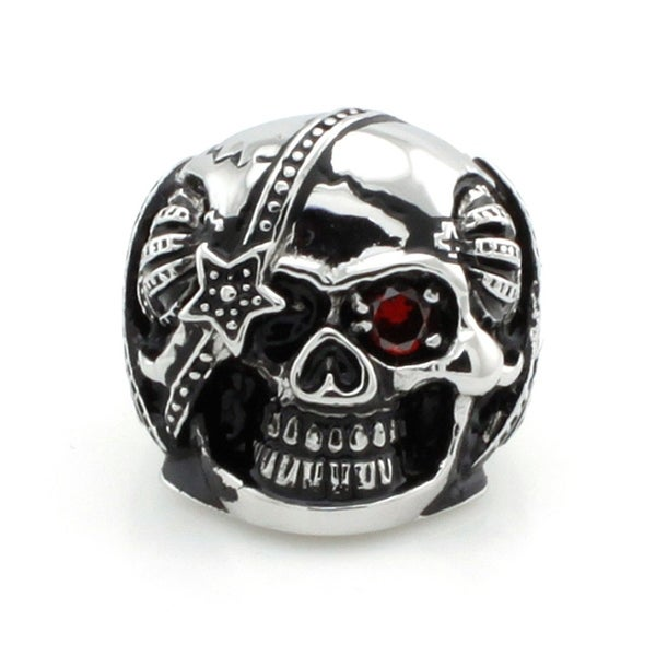 Stainless Steel Royal Biker Skull Ring w/ Ruby CZ Eye