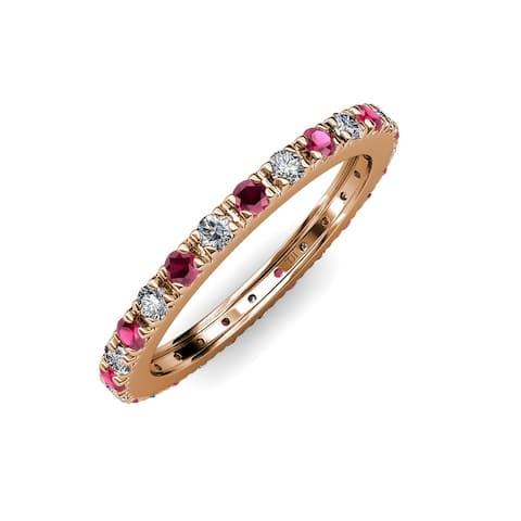 TriJewels Ruby Lab Grown Diamond 1 ctw Women Eternity Ring 14K Gold