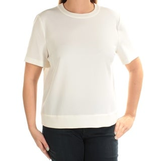 Womens Ivory Short Sleeve Crew Neck Casual Button Up Top Size 12