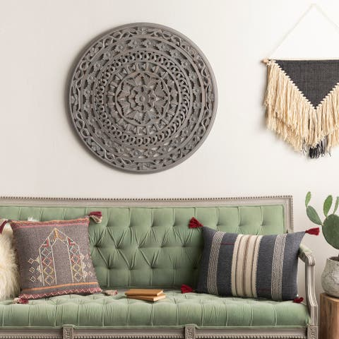 Rina Hand Carved Distressed Mandala 34-inch Round Wall Panel