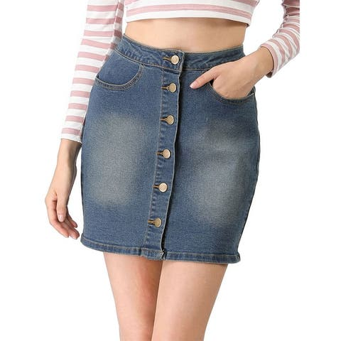 Lady Slant Pockets Button Down Washed Denim Skirt
