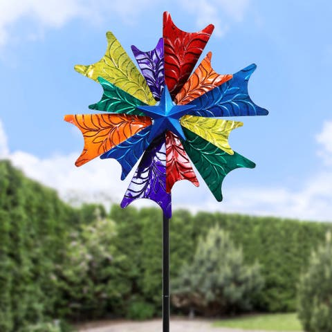 Exhart Colorful Windmill Wind Spinner Garden Stake, 18 by 78 inches