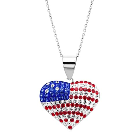 Crystaluxe American Flag Puffed Heart Pendant with Swarovski Crystals in Rhodium-Plated Sterling Silver - Red