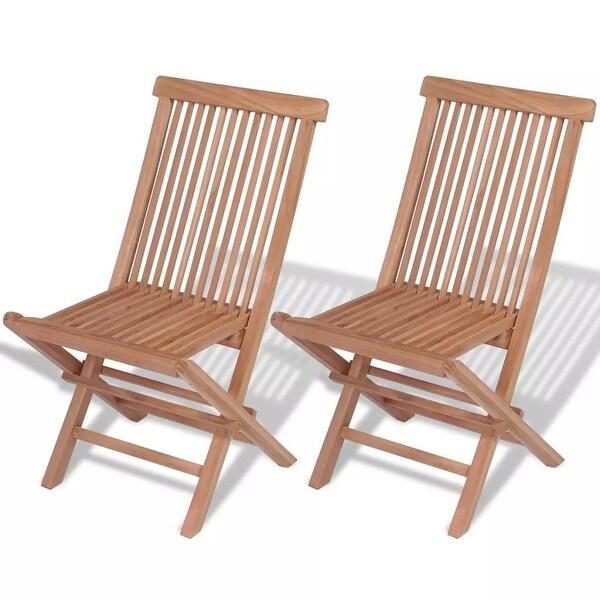 Shop Vidaxl Teak Folding Chair 2 Pcs 18 5 X23 6 X35 Free Shipping