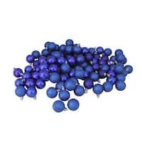 "96ct Royal Blue Shatterproof 4-Finish Christmas Ball Ornaments 1.5"" (40mm)"