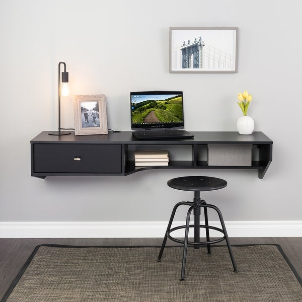 Prepac Modern Floating Desk with Drawer. Opens flyout.