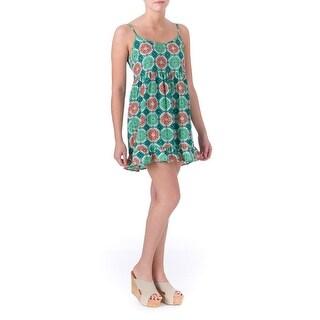 One Clothing Womens Juniors Ruffled Printed Casual Dress