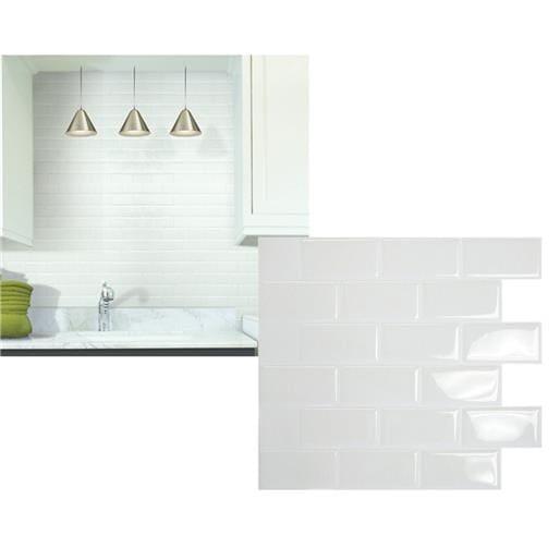 Smart Tiles 6Pk Subway White Tile SM1020-6 Unit: PKG