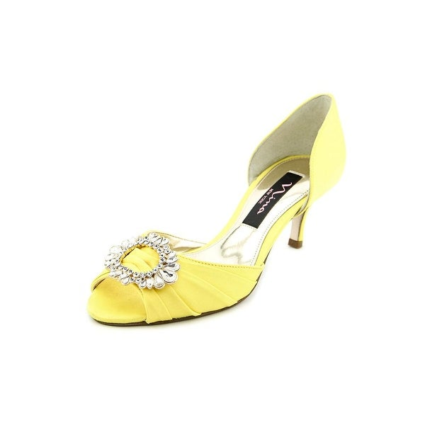 Nina Crystah Women Open-Toe Canvas Yellow Heels