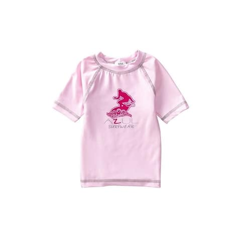 Azul Baby Girls Pink Short Sleeve Solid Logo Detail UPF 50+ Rash Guard