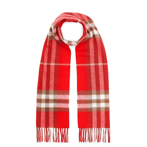 Burberry Womens Bright Red Check Scarf
