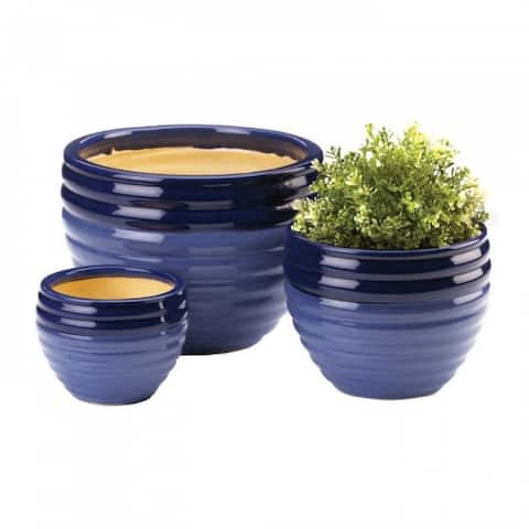 Two-Tone Blue Planter Set Of 3