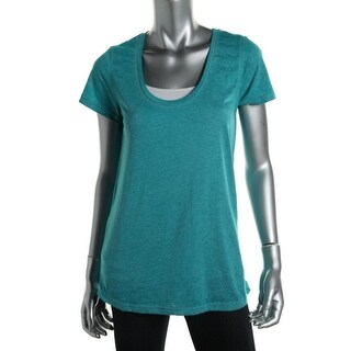 Make + Model Womens Juniors Slub Scoop Neck Pullover Top - M