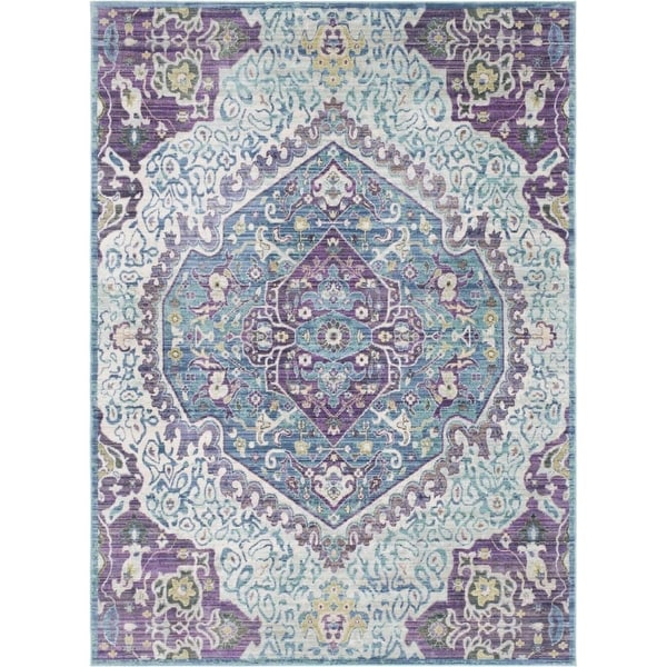 Surya GER2304-211710 Germili 3' x 8' Runner Synthetic Power Loomed Traditional A - Purple - N/A