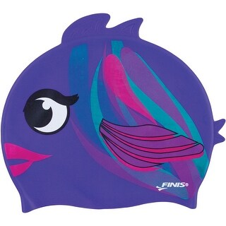 FINIS Youth Animal Head Silicone Swim Cap - Plum Fish Purple - One size