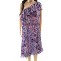Parker Red Paisley Print One-Shoulder Large Dress Silk