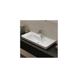 """Nameeks 068300-U  CeraStyle 33-3/5"""" Ceramic Wall Mounted Bathroom Sink with 1 Faucet Hole and Overflow - White - One Hole"""