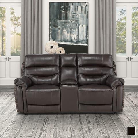 Moreau Leather Power Double Reclining Loveseat