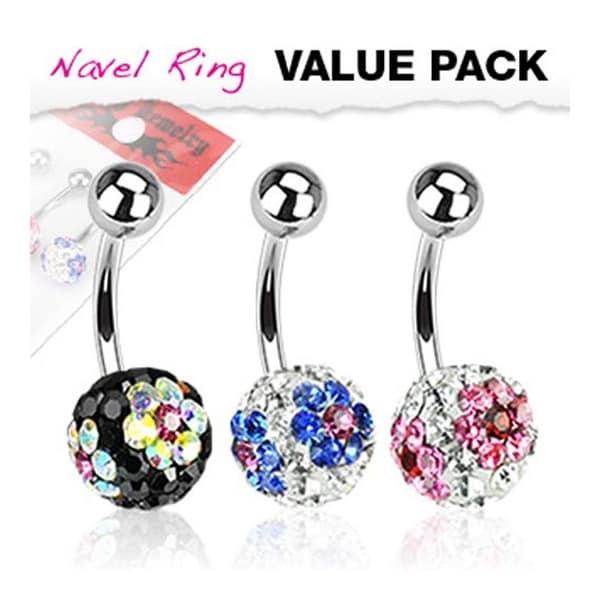 3 Pcs Pack of Assorted Color Multi Flower CZ Ferido Navel Belly Button Ring