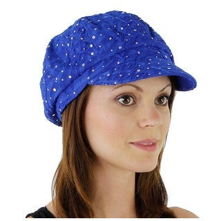 Women's Glitter Sequin Trim Newsboy Style Relaxed Fit Hat - Royal - royal blue with no flower