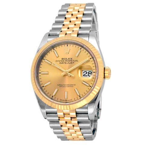 36mm Rolex 18k Yellow Gold and Stainless Steel Datejust Watch - 7 inches