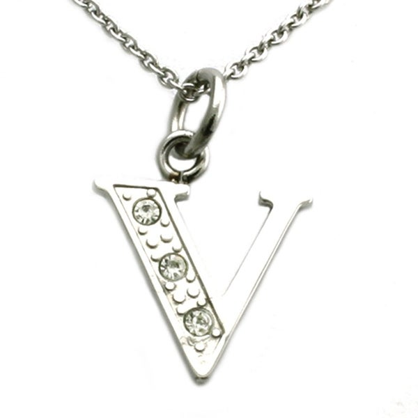 Stainless Steel Alphabet Initial Pendant w/ CZ Stones - Letter V - 18 inches