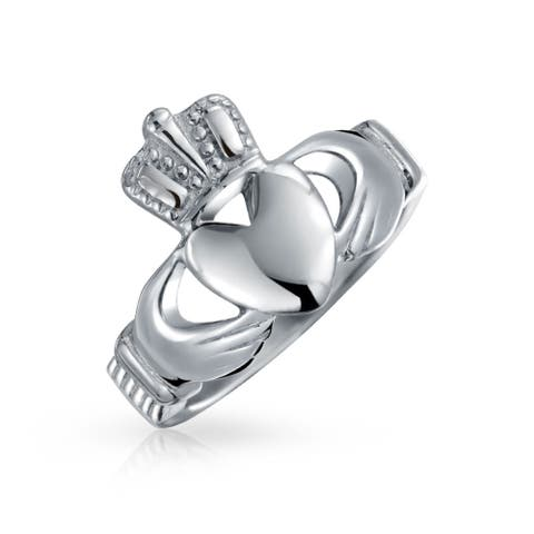 BFF Celtic Irish Friendship Couples Promise Claddagh Ring For Men For Women Silver Tone Stainless Steel