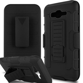 Insten Black Car Armor Dual Layer Hybrid PC/ Silicone Holster Case Cover for Samsung Galaxy J7 (2015)