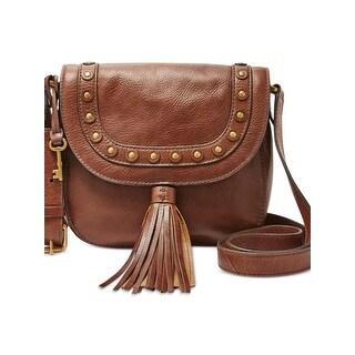Fossil Womens Saddle Handbag Leather Embellished Brown Medium