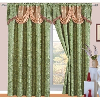 Ronite Jacquard Rod Pocket Panel with Attached Valance and Backing, 55x84+18 Inches, 2-Pack - N/A