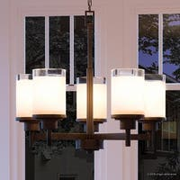 "Luxury Contemporary Chandelier, 19.75""H x 20""W, with Transitional Style, Olde Bronze Finish by Urban Ambiance"