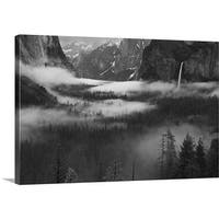 Hong Zeng Premium Thick-Wrap Canvas entitled Fog Floating In Yosemite Valley - Multi-color