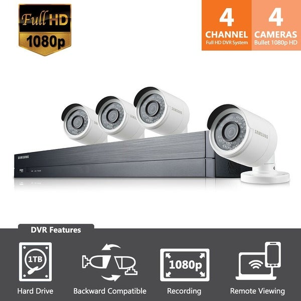 Samsung 4 Channel 1080p HD 1TB Security System with 4 Cameras