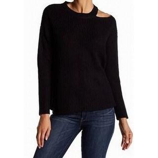 RDI NEW Deep Black Womens Size XL Pullover Cutout-Shoulder Sweater