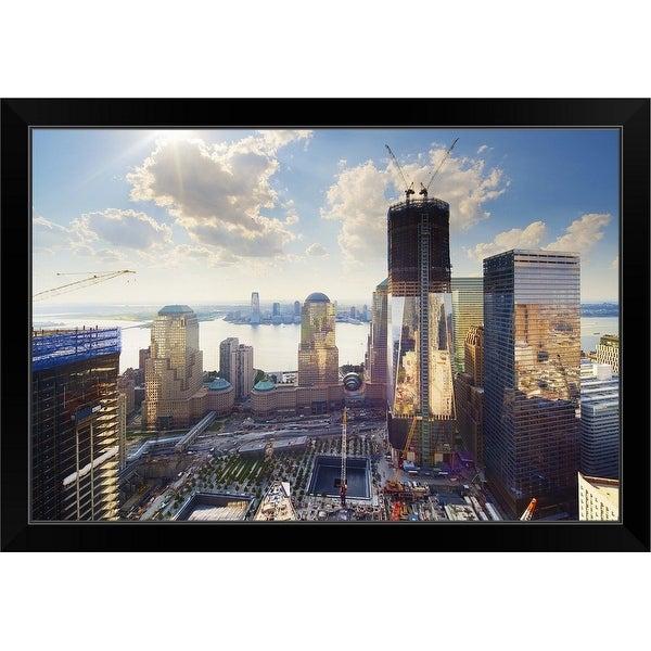 """""""World Trade Center and New York Skyline"""" Black Framed Print"""
