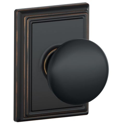 Schlage F10-PLY-ADD Plymouth Passage Knobset with Decorative Addison Rose from the F-Series