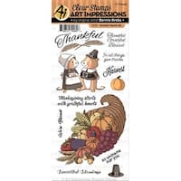 Art Impressions Thanksgiving Clear Stamps-Grateful Hearts