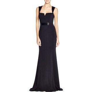 Carmen Marc Valvo Womens Evening Dress Beaded V-Neck