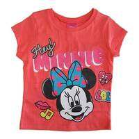 7c396222a5ee Disney Little Girls Coral Hey Minnie Mouse Short Sleeve Cotton T-shirt