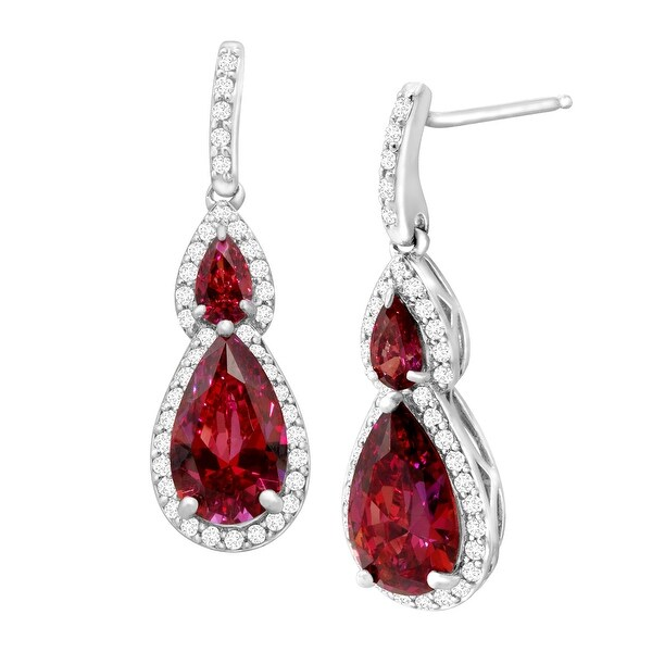 Drop Earrings with Red & White Swarovski Elements Zirconia in Sterling Silver