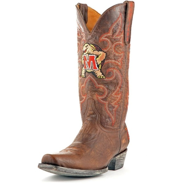 Gameday Boots Mens Leather College Team Maryland Terps Brass