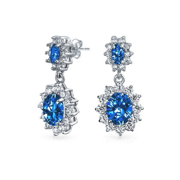 d6dafa637 Shop Crown Halo Royal Blue Cubic Zirconia Double Oval Drop Dangle Earrings  CZ Imitation Sapphire Rhodium Plated Brass - On Sale - Free Shipping On  Orders ...