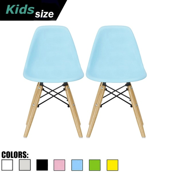 2xhome - set of 2 Blue Plastic Wood Chairs Natural Wood Kids Children