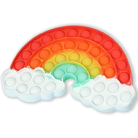 Fidget Bubble Popper Toy - Rainbow with Clouds, Stress Reliever - Red - N/A